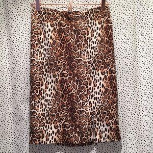 WHBM White House Black Market leopard print skirt